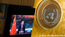 Chinese President Xi Jinping speaks remotely during the 76th Session of the General Assembly at UN Headquarters in New York on September 21, 2021. Mary Altaffer/Pool via REUTERS