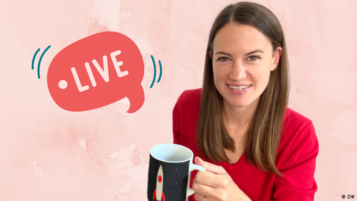 Woman with mug of tea and speech bubble with text Live