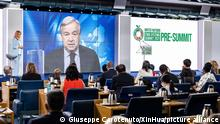 (210729) -- ROME, July 29, 2021 (Xinhua) -- UN Secretary-General Antonio Guterres attends the UN food systems pre-summit via video link on July 26, 2021. The United Nations on Wednesday wrapped up a three-day pre-summit on the world's food systems, casting light on the world's greatest food-related challenges and setting the table for September's ambitious full summit at UN headquarters in New York. FOR EDITORIAL USE ONLY (Giuseppe Carotenuto/FAO/Handout via Xinhua)