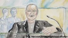 28.03.2017+++Paris, Frankreich+++ This courtroom sketch dated Tuesday, March 28, 2017, shows Venezuelan-born Ilich Ramirez Sanchez known as Carlos the Jackal during his trial at a Paris courthouse, France. The man known as Carlos the Jackal, once the world's most-wanted fugitive, has asked a French court to take the only right decision before the five judges went behind closed doors to rule whether he's guilty of a deadly 1974 attack on a Paris shopping arcade. (Eliza Parmentier via AP) |
