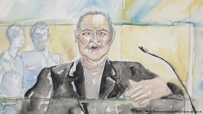 Dibujo de El Chacal durante el último juicio en su contra.