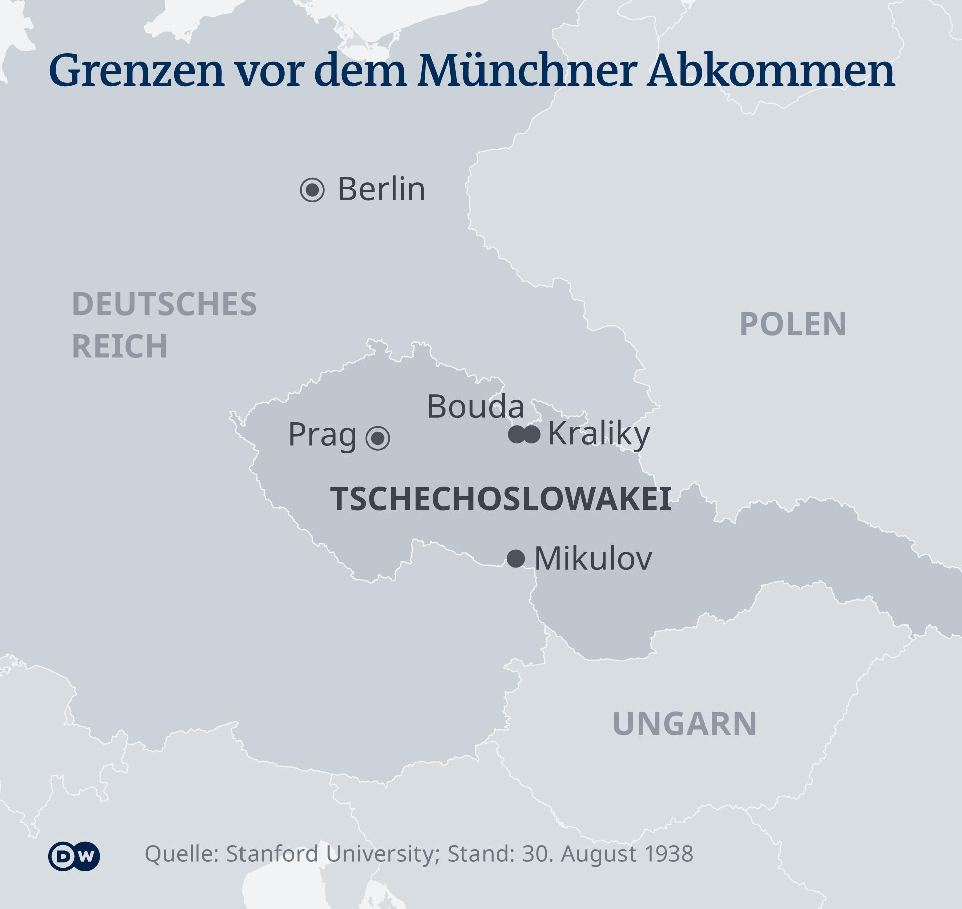Karte - Deutsch-Tcshechoslowakische Grenzen 1938