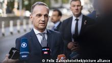 Bundesaussenminister Heiko Maas, SPD, git Journalisten ein Statement nach einem Treffen mit Aussenminister der Islamischen Republik Iran, Amir Abdollhian, im Rahmen der Generaldebatte der 76. Generalversammlung der Vereinten Nationen in New York. 21.09.2021.