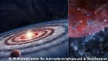 Representación artística de un disco protoplanetario con planetas jóvenes formándose alrededor de una estrella. El panel de la derecha muestra varias moléculas de nitrilo que se acumulan en un planeta.