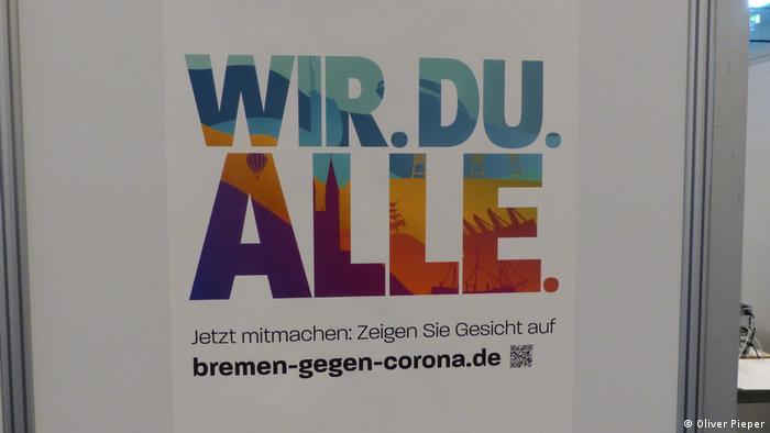 Poster saying 'We. You. Everyone.' bremen-against-corona
