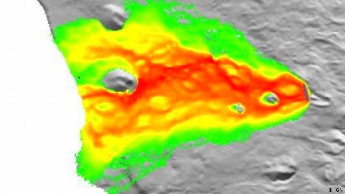 Medición del flujo de lava del Cumbre Vieja del Instituto Geográfico Nacional (IGN) de España.