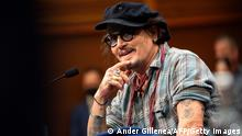 US actor Johnny Depp attends a press conference few hours before receiving the Donostia Award for his career, during the 69th San Sebastian Film Festival in the northern Spanish Basque city of San Sebastian on September 22, 2021. (Photo by ANDER GILLENEA / AFP) (Photo by ANDER GILLENEA/AFP via Getty Images)
