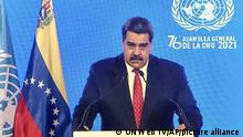 In this photo taken from video provided by UN Web TV, Venezuela President Nicolas Maduro remotely addresses the 76th session of the United Nations General Assembly in a pre-recorded message, Wednesday Sept. 22, 2021, at UN headquarters. (UN Web TV via AP)