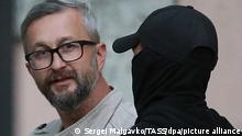 SIMFEROPOL, CRIMEA, RUSSIA - SEPTEMBER 6, 2021: Nariman Dzhelyalov, deputy chairman of the Crimean Tatar Mejlis (banned in Russia), seen by the Kiyevsky District Court. Two suspects in damaging a gas pipeline in Crimea and one suspect in abetting the crime have been arrested for two months. As the judge told journalists, one of the detained is Nariman Dzhelyalov. Sergei Malgavko/TASS
