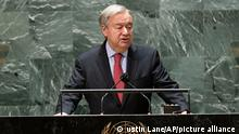 United Nations Secretary-General Antonio Guterres speaks during a high-level meeting to commemorate the twentieth anniversary of the adoption of the Durban Declaration during the 76th Session of the U.N. General Assembly at United Nations headquarters in New York, on Wednesday, Sept. 22, 2021. (Justin Lane/Pool Photo via AP)