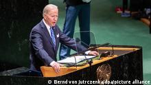 Joe Biden, Präsident der USA, spricht während der 76. Generaldebatte der UN-Vollversammlung im Hauptquartier der Vereinten Nationen in New York. +++ dpa-Bildfunk +++