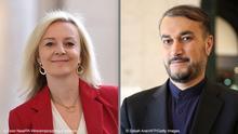 Bildkombo Liz Truss und Hossein Amir Abdollahian
