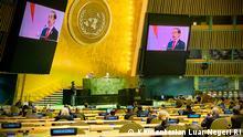 Presiden RI Joko Widodo saat berpidato di Sidang Majelis Umum ke-76 PBB, Kamis (23/09)