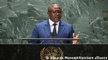 Guinea-Bissau' President Umaro Sissoco Embalo addresses the 76th Session of the U.N. General Assembly Wednesday, Sept. 22, 2021. (Eduardo Munoz/Pool Photo via AP)