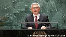 Cape Verde's President Jorge Carlos de Almeida Fonseca addresses the 76th Session of the U.N. General Assembly Wednesday, Sept. 22, 2021. (Eduardo Munoz/Pool Photo via AP)