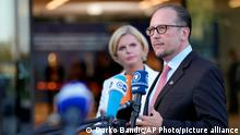 Austria's Foreign Minister Alexander Schallenberg speaks with the media as he arrives for a meeting of EU foreign ministers at the Brdo Congress Center in Kranj, Slovenia, Thursday, Sept. 2, 2021. (AP Photo/Darko Bandic)