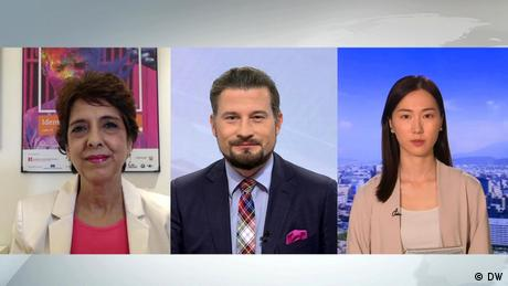 Amrita Cheema in still with DW's Joyce Lee from Taiwan with anchor Chris Kober