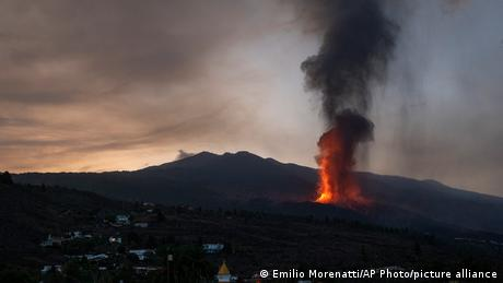 Lava from a volcano eruption flows on the island of La Palma