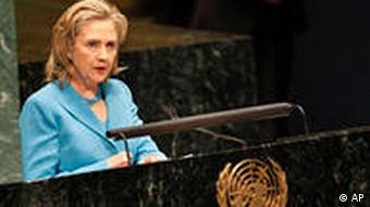 Hillary Clinton speaking at the UN