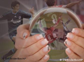 A crystal ball showing Bundesliga footballers