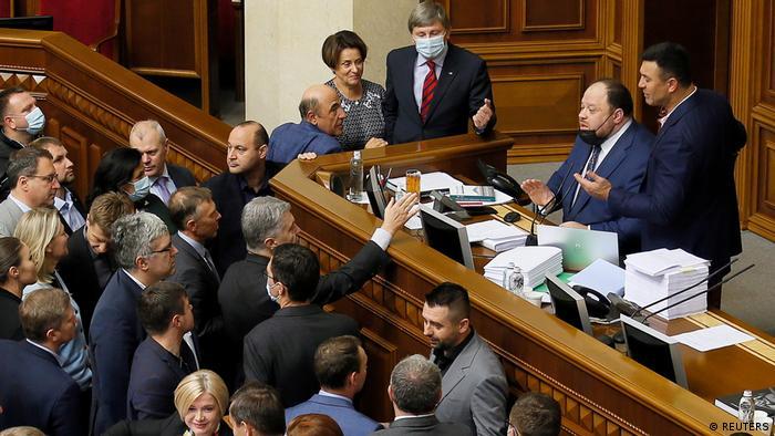 Ukraine I Parlamentspräsident Ruslan Stefantschuk während einer Parlamentssitzung in Kiew