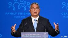 Hungarian Prime Minister Viktor Orban gives a speech on the stage of the Varkert Bazar cultural centre in Budapest on September 23, 2021 during the fourth demographic summit. - The meeting is a platform for decision-makers, political players, religious and civic leaders, economic and media actors, as well as representatives of the academic world to think together, discuss the challenges ahead of us and draw up proposals for common solutions. (Photo by ATTILA KISBENEDEK / AFP)