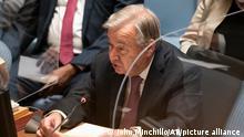 UN Secretary-General Antonio Guterres speaks during a Security Council meeting.