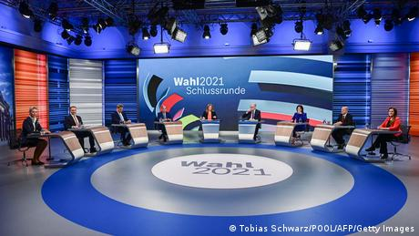 Screenshot from German TV election debate on ARD television, September 23, 2021, showing all seven politicians participating.