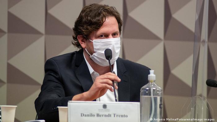 O empresário Danilo Trento em depoimento à CPI da Pandemia