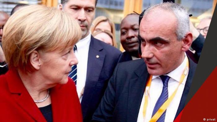 Kole Gjoka und Angela Merkel