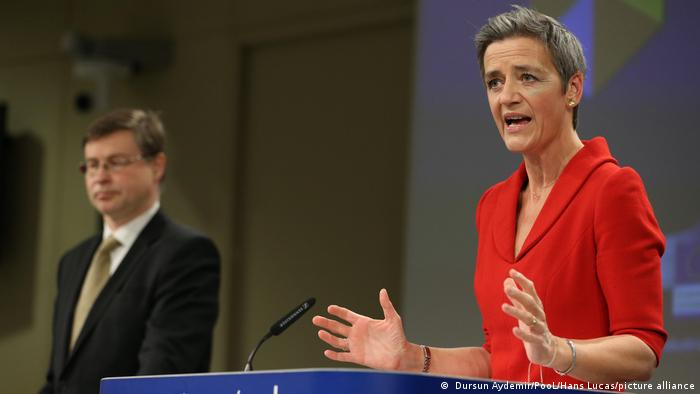 The EU's digital chief Margrethe Vestager and Trade Commissioner Valdis Dombrovskis during a press conference.