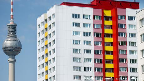 An apartment block in Berlin next to the TV Tower