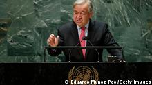 NEW YORK, NY - SEPTEMBER 21: United Nations Secretary-General Antonio Guterres addresses the 76th Session of the U.N. General Assembly at UN Headquarters on September 21, 2021 in New York City. More than 100 heads of state or government are attending the session in person, although the size of delegations are smaller due to the Covid-19 pandemic. (Photo by Eduardo Munoz-Pool/Getty Images)