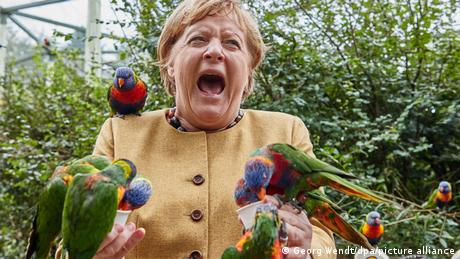 The chancellor proved a hit with the bird park's rainbow lorikeets