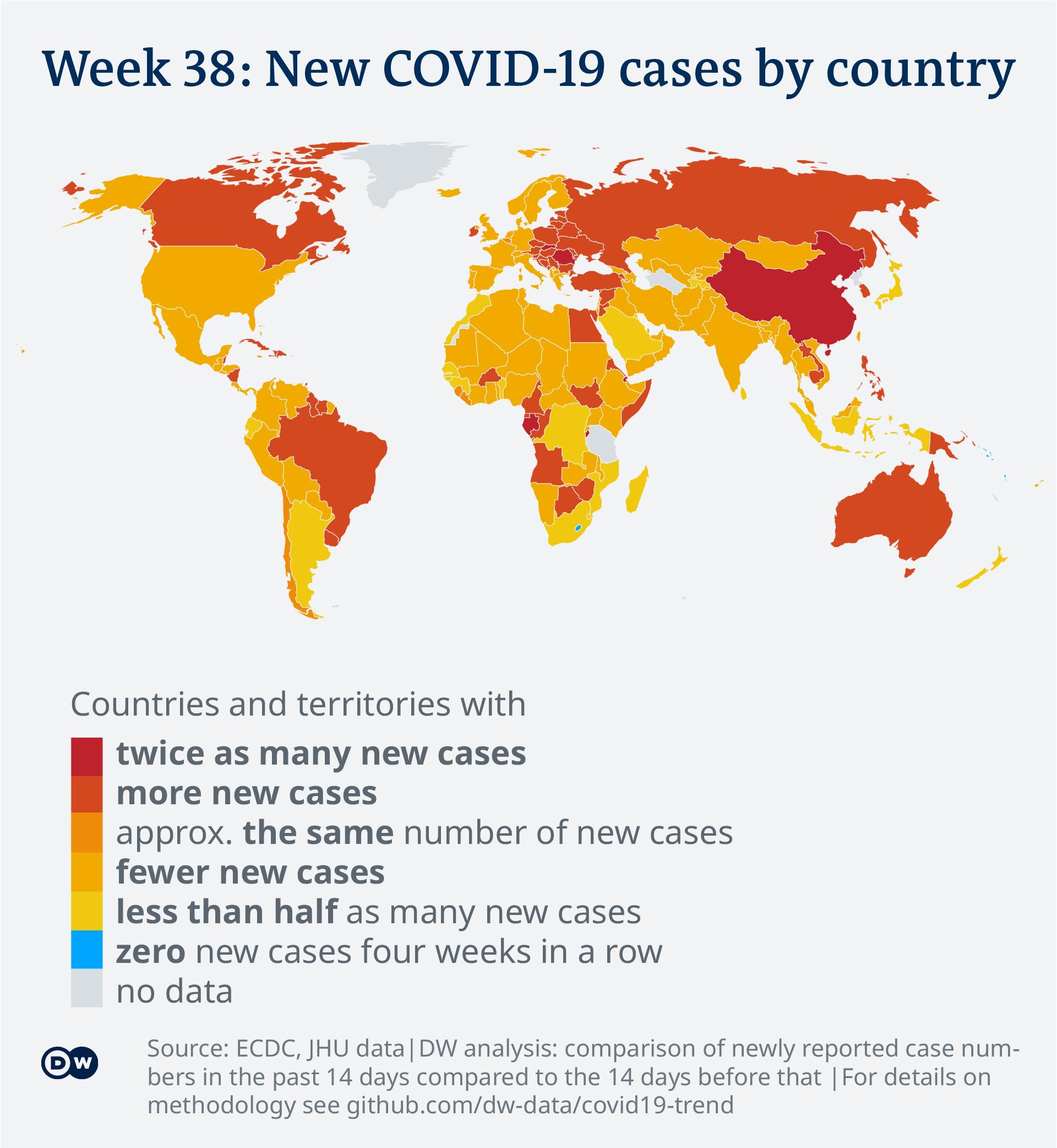 Data visualization: COVID-19 global new case numbers trend - map calendar week 38, 2021