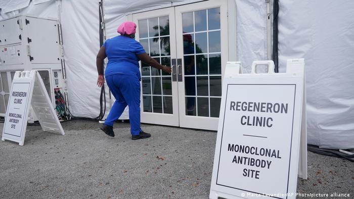 A nurse enters a monoclonal antibody site in Pembroke Pines