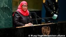 (210924) -- UNITED NATIONS, Sept. 24, 2021 (Xinhua) -- Tanzanian President Samia Suluhu Hassan addresses the general debate of the 76th session of the United Nations General Assembly at the UN headquarters in New York, Sept. 23, 2021. The General Debate of the 76th session of the United Nations General Assembly entered its third day on Thursday. (Xinhua/Wang Ying)