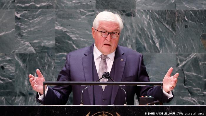 President of Germany Frank-Walter Steinmeier addresses the 76th Session of the UN General Assembly