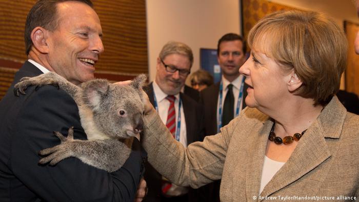 Angela Merkel with a koala