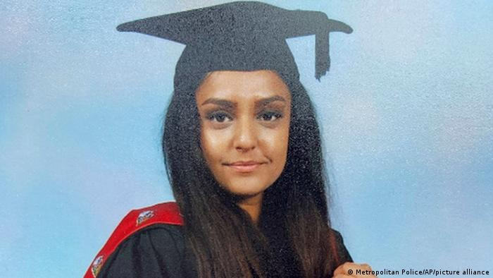 A photograph of 28-year-old Sabina Nessa on graduation day