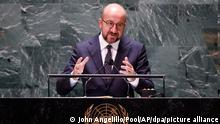 Charles Michel, President of the European Council of the European Union addresses the 76th Session of the U.N. General Assembly at United Nations headquarters in New York, on Friday, Sept. 24, 2021. (John Angelillo /Pool Photo via AP)
