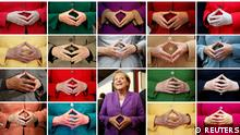 A combination picture shows German Chancellor Angela Merkel folding her hands in front of her jackets of various colours during public events. It is a look back at Angela Merkel's 16-year term as Germany's chancellor ahead of the upcoming federal election in which she will no longer run as a candidate for chancellor. Pictures taken from August 2004 to September 2021. REUTERS/Staff/File Photos