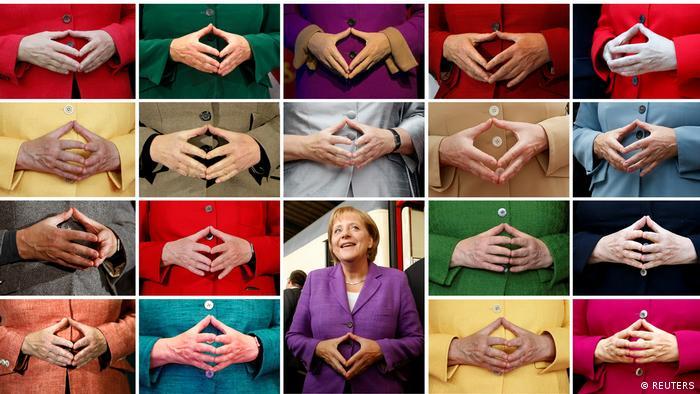 Colagem com o típico gesto de Angela Merkel
