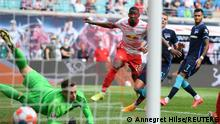Soccer - Bundesliga - RB Leipzig v Hertha BSC - Red Bull Arena, Leipzig, Germany - September 25, 2021 RB Leipzig's Nordi Mukiele scores their third goal REUTERS/Annegret Hilse DFL regulations prohibit any use of photographs as image sequences and/or quasi-video.