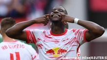 Soccer - Bundesliga - RB Leipzig v Hertha BSC - Red Bull Arena, Leipzig, Germany - September 25, 2021 RB Leipzig's Nordi Mukiele celebrates scoring their third goal REUTERS/Annegret Hilse DFL regulations prohibit any use of photographs as image sequences and/or quasi-video.