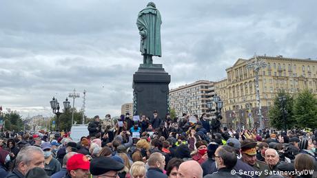 Demonstranten auf dem Puschkinplatz