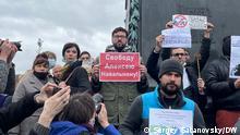 """25.09.2021, Kundgebung in Moskau gegen Betrug bei der Parlamentswahl. Auf einem Plakat steht : """"Freiheit für Alexey Navalny!"""