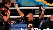 25/09/2021*** London*** Boxen: Weltmeisterschaft im Schwergewicht, Joshua (Großbritannien) - Usyk (Ukraine): Oleksandr Usyk feiert seinen einstimmigen Sieg über Anthony Joshua. +++ dpa-Bildfunk +++