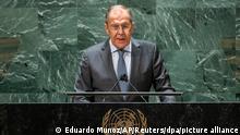 Sergej Lawrow, Außenminister von Russland, spricht bei der 76. Sitzung der UN-Generalversammlung am Hauptsitz der Vereinten Nationen. +++ dpa-Bildfunk +++