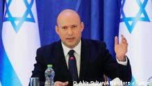 Israeli Prime Minister Naftali Bennett attend a cabinet meeting at the Ministry of Foreign Affairs office in Jerusalem on Saturday, Sept. 11, 2021. (Abir Sultan/Pool Photo via AP)